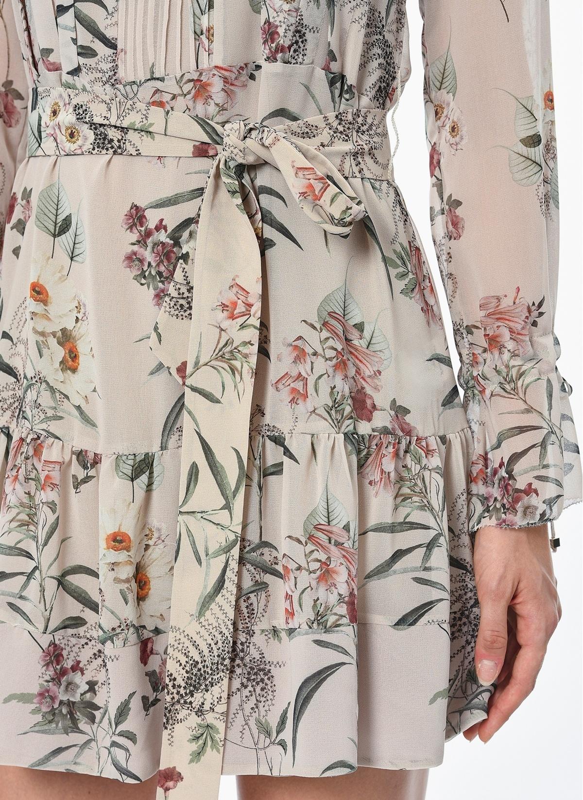 437a86b8b7a3e NetWork Kadın Uzun Kollu Çiçekli Mini Şifon Elbise Pudra Rengi ...